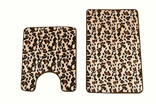maiija 2 Piece Leopard Memory Foam Non-slip Contour Memory Foam Bathmat Set - Cheetah Bath