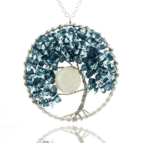 Blue Moon Freshwater Pearls (Silver-Plated Silver Blue Bead Tree of Life & Mother of Pearl Moon Long Pendant Necklace, 30 inches)
