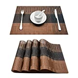 "Top Finel Eco-friendly Colorful Rectangle Bamboo PVC Restaurant Place Mats for Dining Table 12"" By 18"" (Set of 4, Brown & Black)"