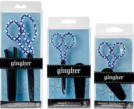 Set of Three Sizes Limited Edition 2017 ''Lauren'' Design Scissors by Gingher - Includes One Each of 4