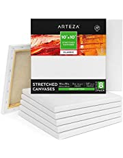 Arteza Stretched Canvas, Pack of 8, 10 x 10 Inches, Square Blank Canvases, 100% Cotton, 8 oz Gesso-Primed, Art Supplies for Acrylic Pouring and Oil Painting
