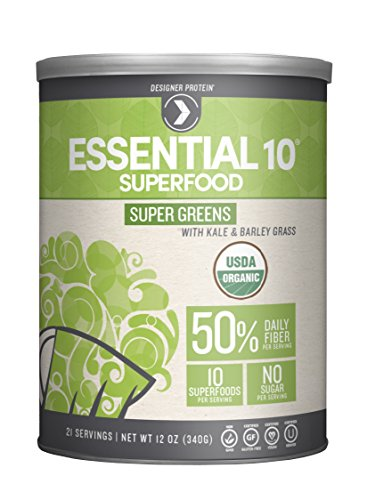 Designer Protein Essential 10 Super Greens Organic Superfood, 12 Ounce (Essential Greens Powder)