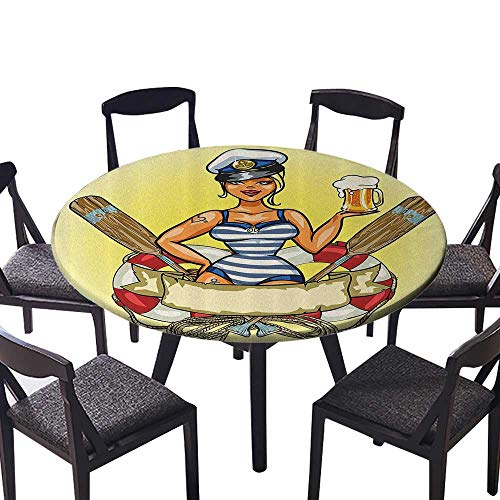 Premium Round Tablecloth Pin Up Sexy Sailor Girl in Lifebuoy with Captain Hat and Costume Glass of Femin 40
