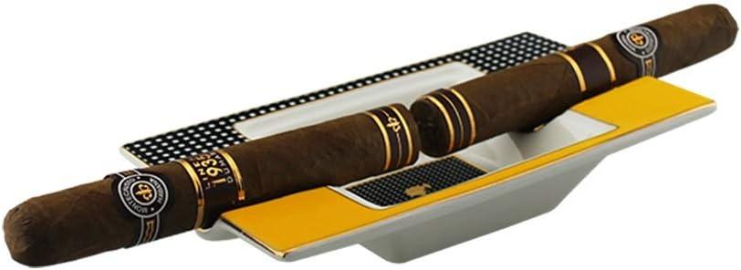 TYBXK cendrier exterieur C/éramique cigares Cendrier Porte 2 cigares cigarette Accueil Portable fente Ash avec bo/îte-cadeau 489 Color : Natural