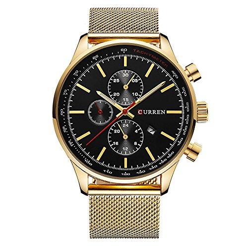 CURREN Men's Sports Waterproof Stainless steel Date Wrist Watch 8227 Gold Black