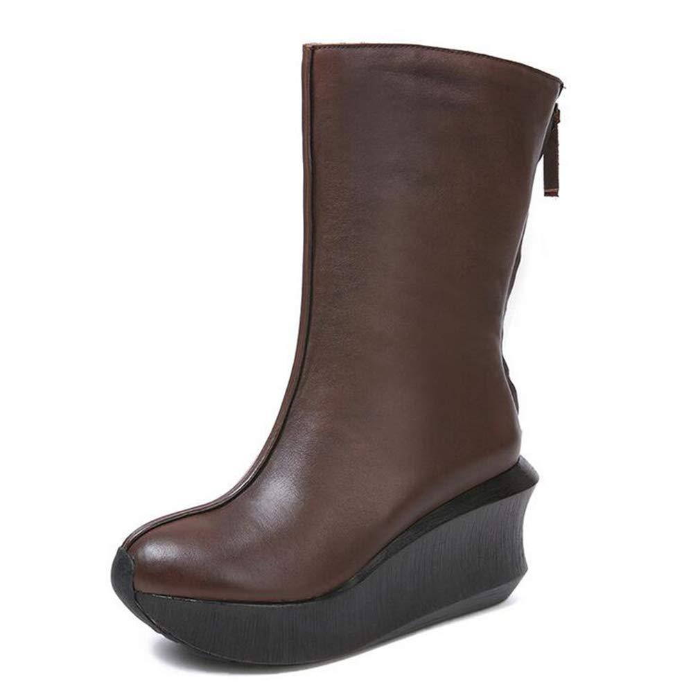 Hy Damenstiefel, Leder Fall Winte Dicker Slip-On-Absatz mit Keilabsatz, Damenstiefel für erhöhte Mode, Retro-Martins-Stiefel (Farbe   Braun, Größe   39)