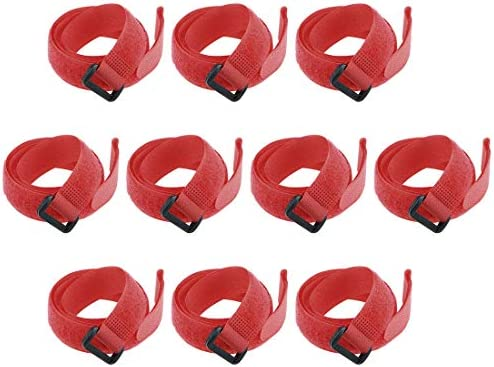 uxcell フックとループのストラップ20mm x 550mmストラップ固定再利用可能な固定ケーブルタイ(レッド)10個