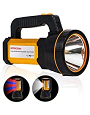 Heavy Duty Led Torch USB Rechargeable Super Bright Hand held Spotlight Flashlight High Power Big Powerful Searchlight Torch Large Battery 10000MAH, Floodlight Camping Lantern