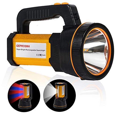 Super Bright Torch - Rechargeable Spotlight Flashlight LED Spot lights Hand held Searchlight Handheld High Lumens Super Bright Large Battery Powered 10000mah Outdoor Flashlight Torch Waterpoof,Flood Search Light Camping