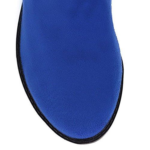 Allhqfashion Para Mujer Redondo Escarpado Con Punta Cerrada, Color Surtido, Tacón Alto, Tacones Bajos, Botas, Azul