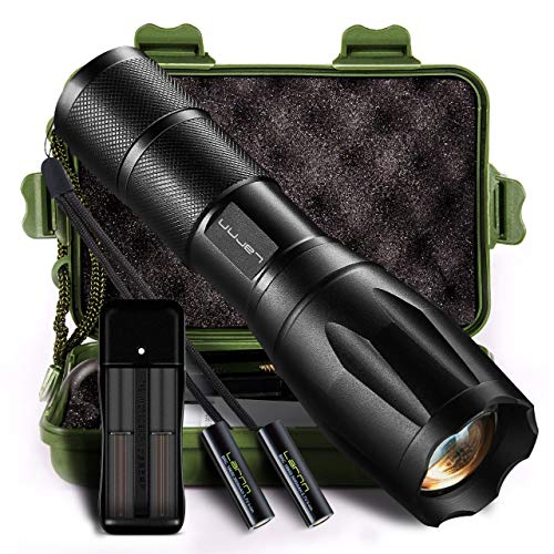 Led Tactical Flashlight, Larnn 1000Lumens Ultra-Bright XML-T6 Handheld Flashlights Zoomable Water-Resistant 5 Light Modes for Camping Hiking Hunting