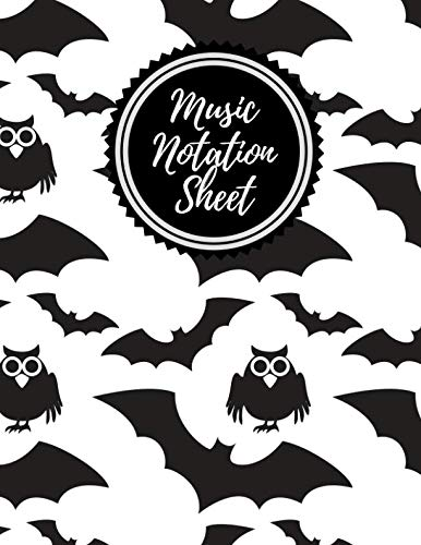 Music Notation Sheet: Blank Music Sheet Notebook for Composing and Theory (Bats & Crows Design) -