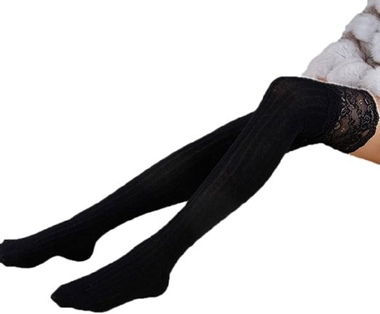 Thigh Stockings High Socks Pantyhose Tights Women Knitting Lace Cotton Over Knee
