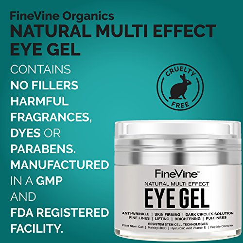 51jX3Np0A6L - Anti Aging Eye Gel - Made in USA - for Dark Circles, Puffiness, Wrinkles, Bags, Skin Firming, Fine Lines and crows feet - The Best Natural Eye Gel for Under and Around Eyes.