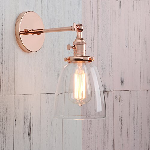 Permo Industrial Vintage Single Sconce With Oval Cone Clear Glass Shade 1-light Wall Sconce Wall Lamp (Copper) - Copper Wall Lamp
