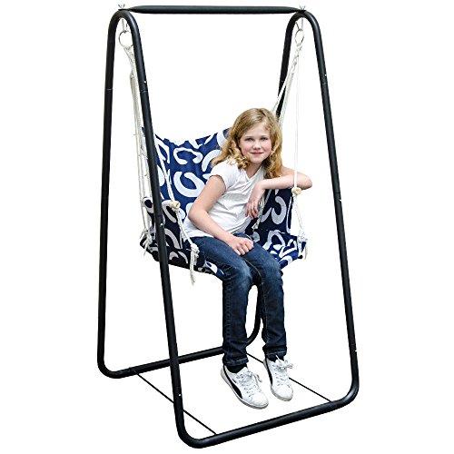 Hängesesselgestell mit Hängestuhl | Schaukel für Kinder und Erwachsene | Komplettset Metall-Gestell mit Hängesitz in Blau | für Innen und Außen