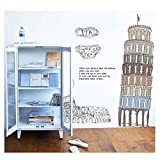 Leaning Tower of Pisa Removable Wall Sticker for Bedroom Study Kids Children Room Art Mural Decor Pegatinas Home Decoration