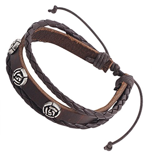 Perdy Jewelry Genuine Brown Leather Bracelet by Braided Design Rose Silver Symbols, Adjustable Size