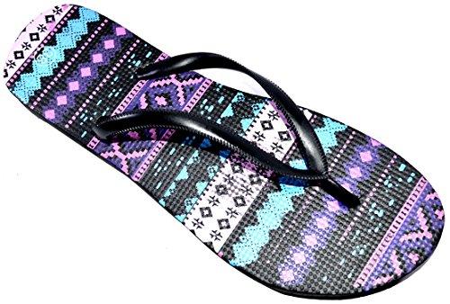 OCTAVE® Ladies Summer Beach Wear Flip Flops Collection Various Styles & Colours Aztec Design - Black Zbk4w8jx