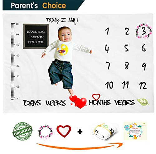 (Amababies Milestone Blanket - Premium Large 60''x40'' Wrinkle Proof Fleece Baby Weekly and Monthly Blanket - With props including flower headband - Perfect gift for 1st year infant boys or girls)