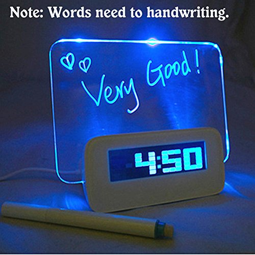 Zlimio Fashion Digital Calendar Fluorescent Message Board LED Electronic Alarm Clock with USB Charge(Blue)
