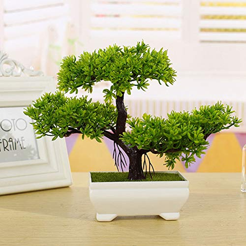 Chinese Bonsai Tree Elm (Artificial Bonsai Tree, Emulate Bonsai Simulation Decorative Artificial Flowers Fake Green Pot Plants Ornaments Home Decor)