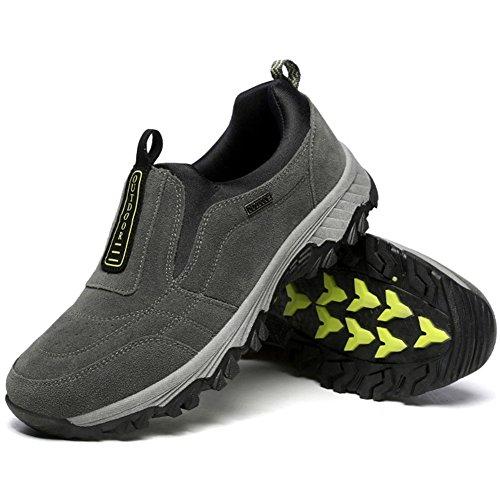 Wealsex Men's Slip-on Outdoor Hiking Shoes Suede Trekking Low-top Casual Sneaker Anti-Slip Climbing Trail Walking Shoes Grey 4xNlD