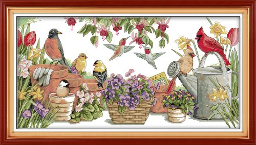 (Cross Stitch Stamped Kits Quilt Pre-Printed Cross-Stitching Patterns for Beginner Kids Adults, Embroidery Crafts Needlepoint Starter Kits,Birds Gather in Garden 27''x15'')