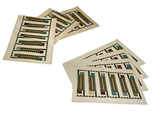 Frank Lloyd Wright Usonian Block Table Runner & 4 Placemats Set - Natural by Frank Lloyd Wright