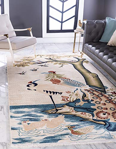 Unique Loom Gansu Collection Animal Antique Finish Chinese Pattern Cream Area Rug (4' 0 x 6' 0) (Chinese Antique Rug)