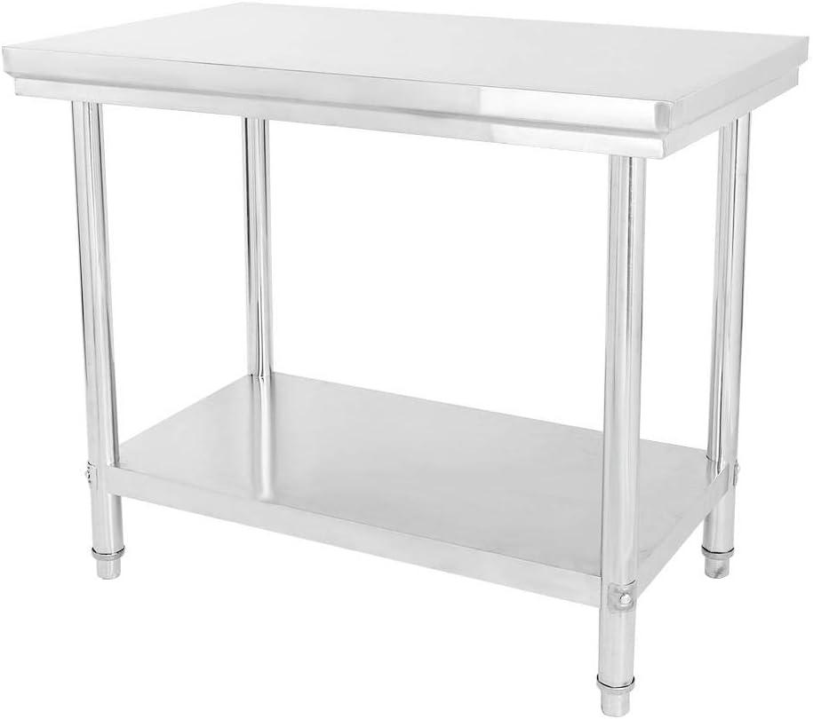 Mesa de trabajo de acero inoxidable, mesa de cocina de 100 x 85 x 60 cm