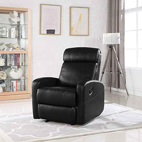 Single Faux Leather Recliner Lounge Chair - Modern Wide Armrest Lounger Chair, High Comfortable Back Seats for Living Room, Office or Home Theater Seating Recliners (Black)