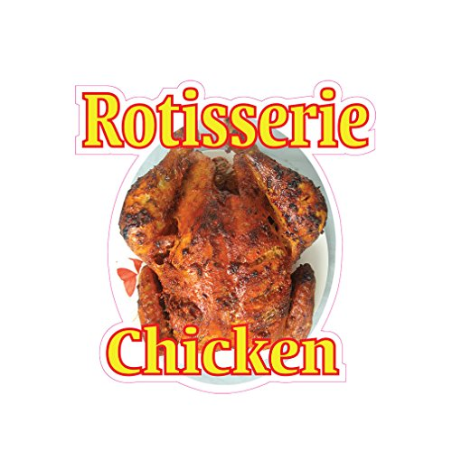 Rotisserie Chicken Concession Restaurant Die-Cut Window Static Cling 48 inches Inside Glass