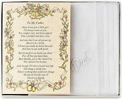 Wedding Handkerchief Poetry Hankie (for Bride's Father) White, Wedding Keepsake, Beautiful Poem | Long-Lasting Memento for The Bride's Dad | Includes Gift Storage Box