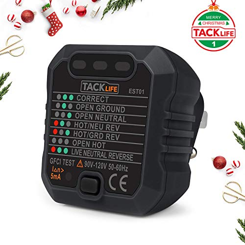 Tacklife EST01 Advanced GFCI Outlet Tester Power Socket Automatic Electric Circuit Polarity Voltage Detector Wall Plug Breaker Finder (Automatic Outlet)
