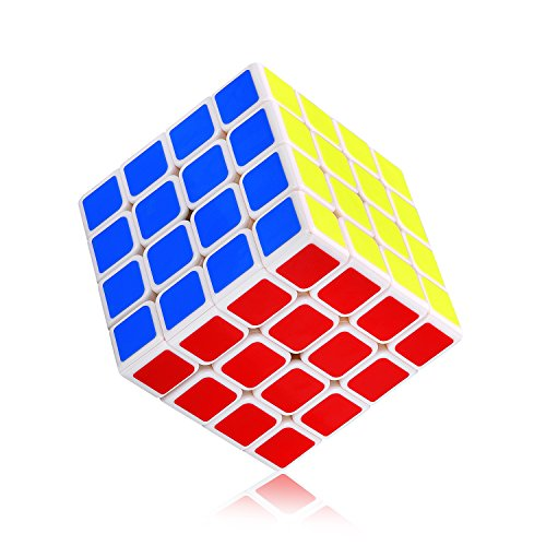 Ganowo 4x4 Speed Cube New Anti-Pop Structure,Sticker Puzzle Cube Durable with Vivid Color,Smooth Cornering Magic Cubes for Brain Training and Children's Gift
