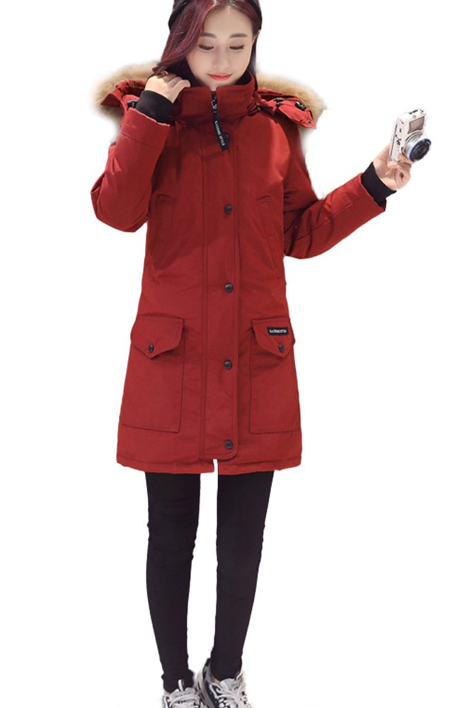 Queeenshiny New Style Winter Women's Long Down Coat with Hood Fashion Cloth Red S (4-6)
