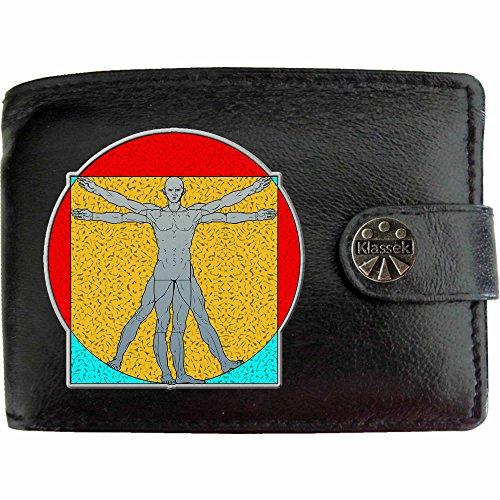 Vitruvian Man Figure Vitruvianische Mensch Abbildung Klassek Herren Geldbörse Portemonnaie Brieftasche Leonardo Da Vinci aus echtem Leder schwarz Geschenk Präsent mit Metall Box