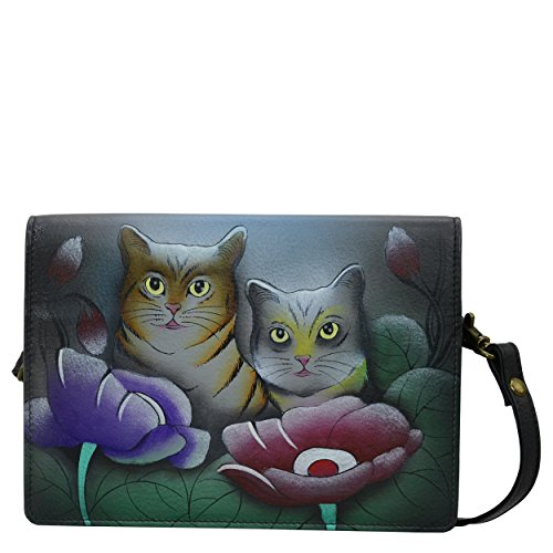 Anna by Anuschka Handpainted Leather Women's Two Fold Wallet On A String, TCT Cats Grey, One Size