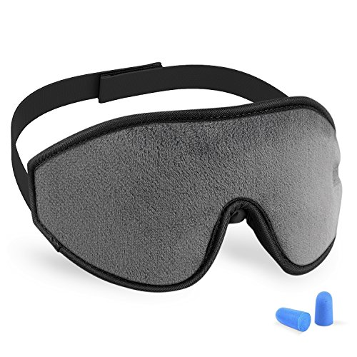 3D Sleeping Mask Eye Cover, Cshidworld Patented Design 100% Blackout Sleep Mask Contoured Comfortable Lightweight Adjustable Eye Mask & Blindfold for Travel, Nap, Shift Works (Grey)