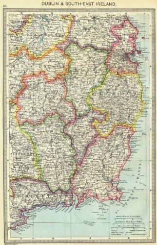 Map Of South East Ireland.Amazon Com Ireland Dublin And South East Ireland 1907 Old