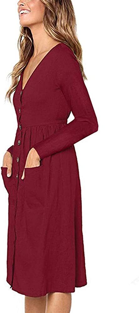 Summer Dresses for Women Casual Midi Dress Short Sleeve Shirt Dress V Neck Button Down Swing A Line Tunic Dress with Pockets