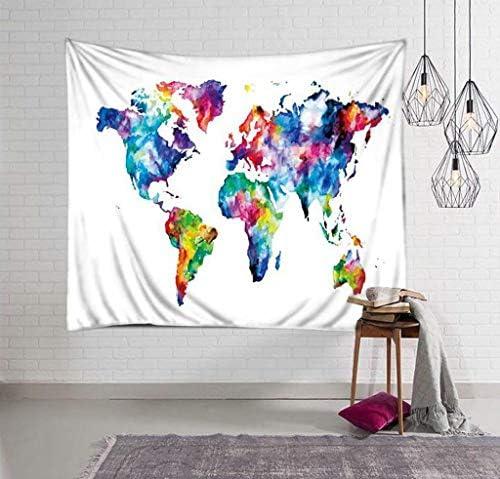 壁掛けタペストリー 3D印刷世界地図パターンタペストリー壁タペストリーボヘミアン壁掛けタペストリー壁毛布壁アート壁の装飾ビーチタペストリー日没タペストリーインドの壁の装飾テーブルクロス、G 寝室用タペストリー (色 : K)