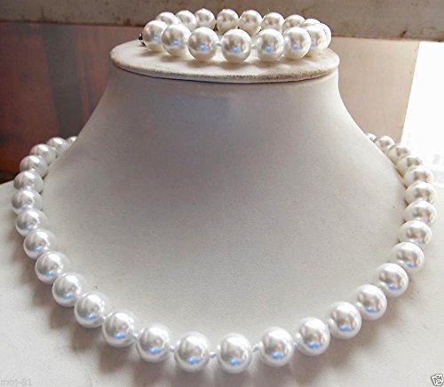 AAA+ 12MM NATURAL WHITE SOUTH SEA SHELL PEARL NECKLACE BRACELET JEWELRY SET
