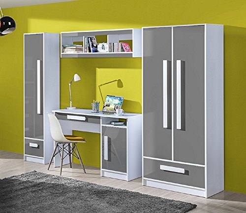jugendzimmer kinderzimmer gerome 4 tlg komplett set a in 5 farben fronten hochglanz schrank. Black Bedroom Furniture Sets. Home Design Ideas