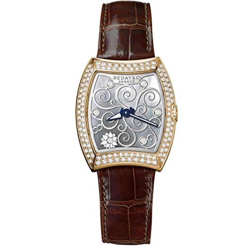 Bedat & Co Women's No.3 Limited Edition 28 Pieces Diamond Brown Leather Band Quartz Watch 316.430.M01