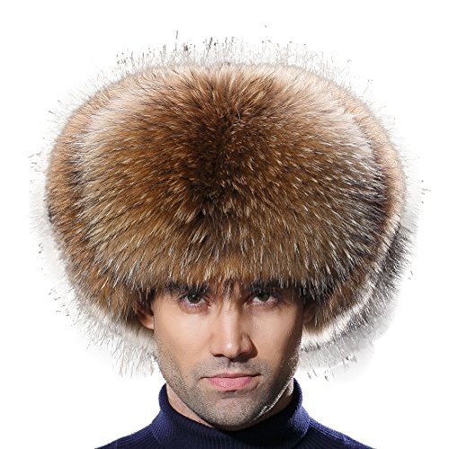 URSFUR Winter Men Fur Hat Real Raccoon Fur Russian Ushanka Trapper Cap by URSFUR