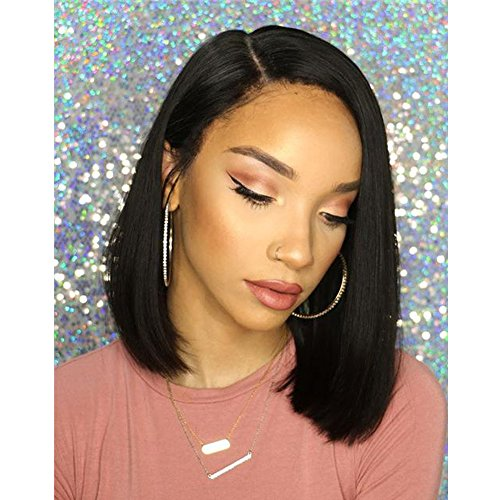 - Bob Wigs Short Straight Hair Black Synthetic Wig Heat Resistant Fiber Natural Hair Full Wig for Black Women 14 inch