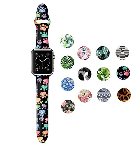 Dsigo Replacement Band for Apple Watch 38mm Series 4 Series 3 Series 2 Series 1 M/L, Strap Bands for iwatch, Silicone Sport Style Wristband, Personalized Design Wolf Foot Print