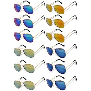 Wholesale Aviator Gold Color Frame Eyeglasses Full Mirror Lens Blue, Blue-Green, Red, Yellow -12 Pack OWL.